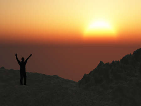 The man on mountain. The lifted hands, towards to picturesque sunset Stock Photo - 4290618