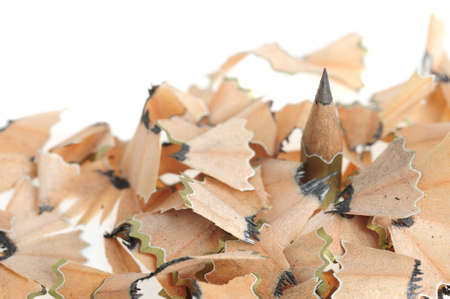 acute angle: Pencil in an environment shavings. A photo close up