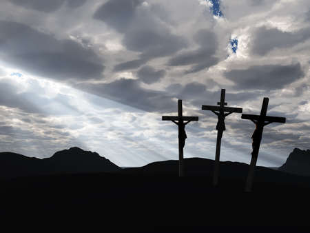 The crucifixion. A cross with Jesus Christ. A bible theme Stock Photo - 4336405