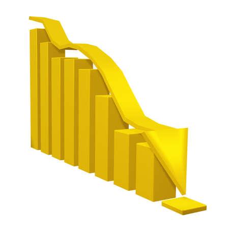 stock predictions: Il diagramma caduta. Il diagramma con una freccia da oro su uno sfondo bianco