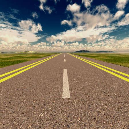 Asphalt road. A transport highway with the blue sky. A transport highway with the blue sky Stock Photo - 4378375