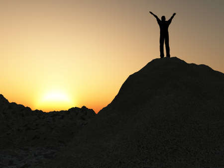 The man on mountain. The lifted hands, towards to picturesque sunset