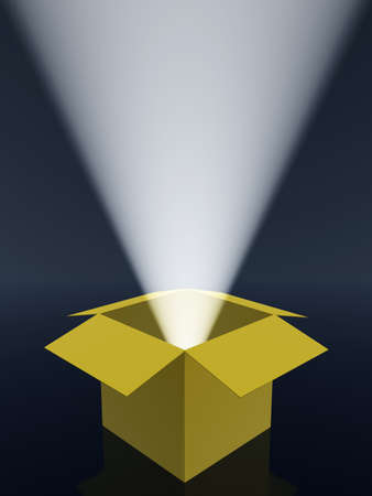 Boxes and rays of light. The open paper box and volumetric light photo