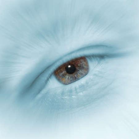 elaboration: Eye of the man. High detailed elaboration of an iris of the eye of a human eye Stock Photo