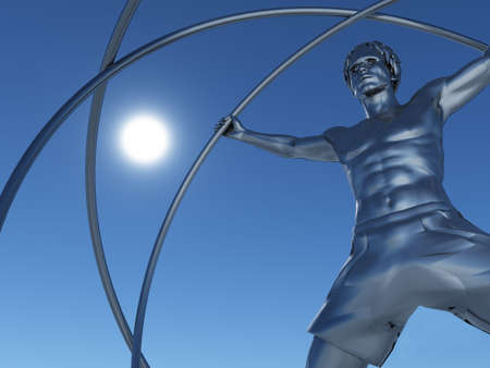 The man in a simulator - a gyroscope. The adaptation for training astronauts. A statue from iron  Stock Photo - 4491121