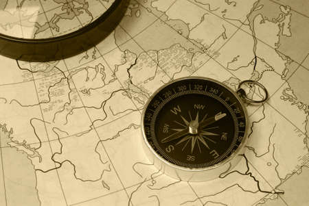 filthy: Ancient compass. The old device for the instruction of a direction and an old card