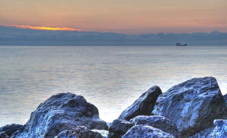 The night sea. The sea photographed at a dawn with long endurance. Crimea, Ukraine Stock Photo - 4581263