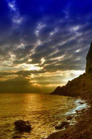 The night sea. The sea photographed at a dawn with long endurance. Crimea, Ukraine Stock Photo - 4581265
