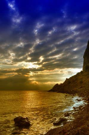 The night sea. The sea photographed at a dawn with long endurance. Crimea, Ukraine Stock Photo - 4581265