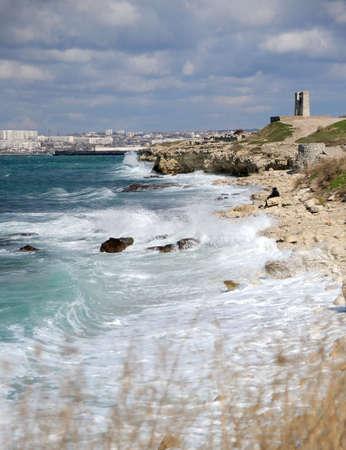 Splash of waves about coastal stones. Crimea, Ukraine Stock Photo - 4628339