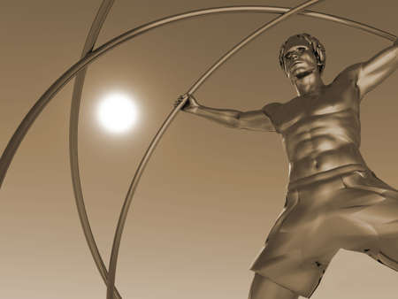 Iron Man: The man in a simulator - a gyroscope. The adaptation for training astronauts. A statue from iron
