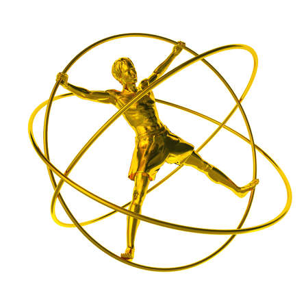 adaptation: man in a simulator - a gyroscope gold. The adaptation for training astronauts. A statue from iron