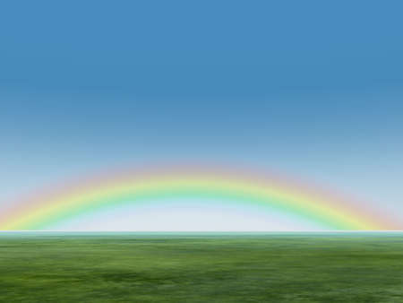 Rainbow in the sky. 3d rendering of natural effect - a rainbow photo