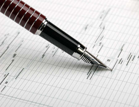 Business a theme. Diagrams from the share market, pens. Concept - exchange activity Stock Photo - 4677420