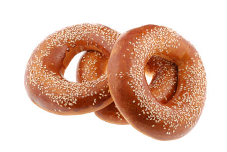 bagel . A sweet bun it is isolated on a white background photo
