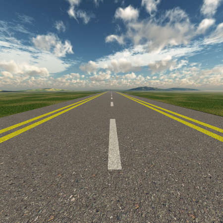 Asphalt road. A transport highway with the blue sky. A transport highway with the blue sky Stock Photo - 4704983