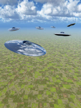 Attack of UFO. The abstract image of futuristic flying devices above a surface of the ground Stock Photo - 4705087