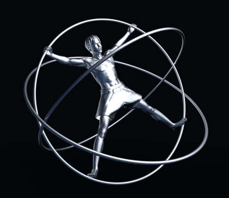adaptation: The man in a simulator - a gyroscope. The adaptation for training astronauts. A statue from iron