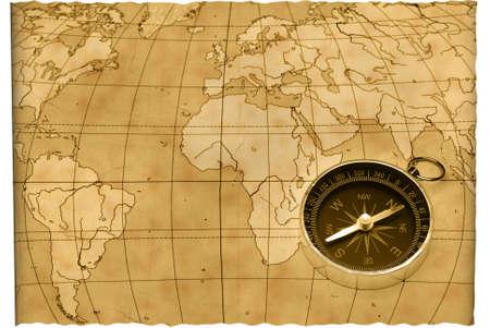 topografo: Antigua br�jula. El antiguo dispositivo para la instrucci�n de una direcci�n y una vieja tarjeta de Foto de archivo