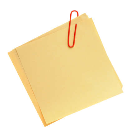 neat: Paper note. It is attached red pin on a white background