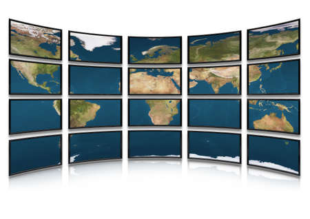 flat earth: Card earth on screens of monitors. Compound system of set of screens