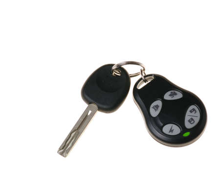 signalling: Keys from the car. Are isolated on a white background Stock Photo