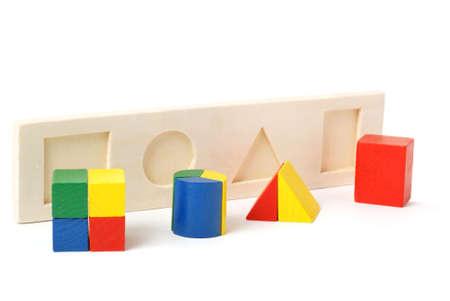logica: L�gica juguete. Para los ni�os en edad preescolar. Es aislados sobre un fondo blanco Foto de archivo