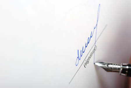 autograph: paper texture and signature. Acknowledgement of the document by means of the unique signature by means of pen