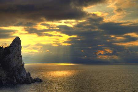 The night sea. The sea photographed at a dawn with long endurance. Crimea, Ukraine Stock Photo - 4773499