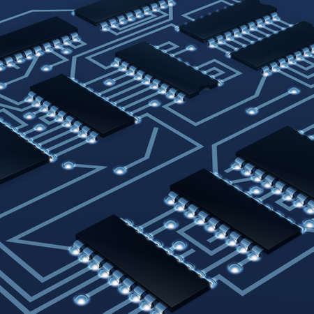 soldering: Motherboard a computer. Shone details of soldering Stock Photo