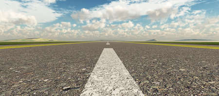Asphalt road. A transport highway with the blue sky. A transport highway with the blue sky Stock Photo - 5016435