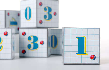 Figures on cubes. The image of the various figures, isolated on a white background photo