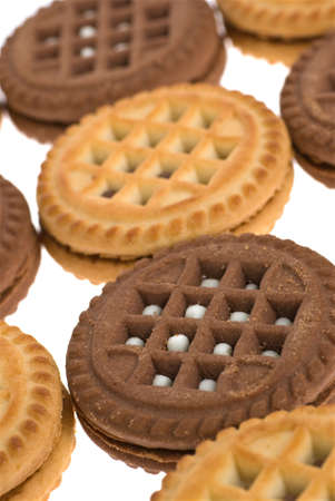Cookies. A sweet, bakery product. Brown and white photo