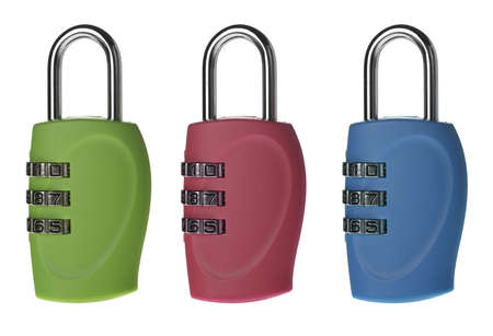 The lock with a digital code. It is isolated on a white background photo