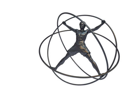 simulator: The man in a simulator - a gyroscope. The adaptation for training astronauts. A statue from iron