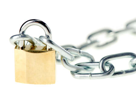 The lock with chain. The lock of gold color closing chain Stock Photo - 5191486