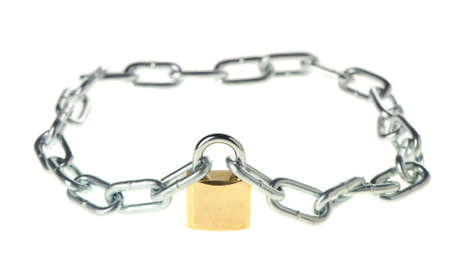 The lock with chain. The lock of gold color closing chain Stock Photo - 5221838