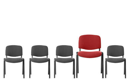 disharmony: Unique red chair. It is isolated on a white background Stock Photo
