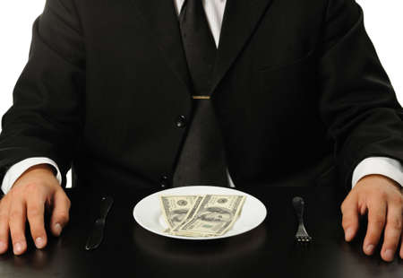 business backgound: The businessman having dinner dollars. Fun on a theme of the finance