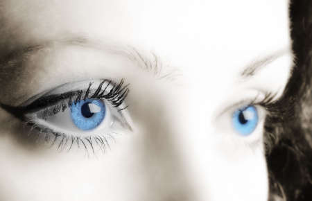 Female blue eyes. A photo close up, a part face Stock Photo - 5454241
