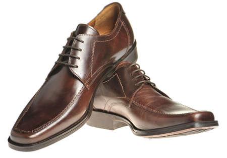 zapatos de seguridad: Vincular un zapato de cuero marr�n. Los zapatos del hombre aislado en un fondo blanco Foto de archivo