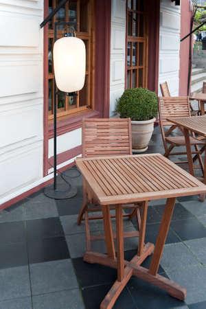 Little table near cafe. The Chinese restaurant. Odessa. Ukraine photo