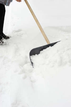 snow clearing: Cleaning of a snow. Clearing of road to winter time by means of a shovel