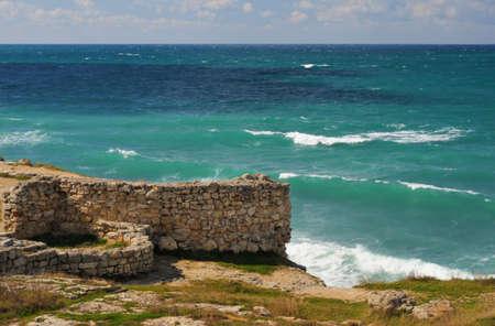 Splash of waves about coastal stones. Crimea, Ukraine Stock Photo - 5568850