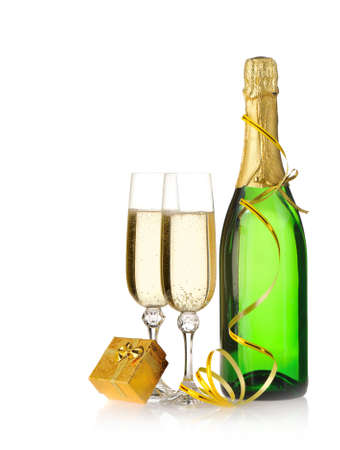 Bottle of a champagne and glasses. Box with a gift Stock Photo - 5596069