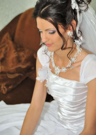 only one woman: The beautiful bride. The young girl in a wedding dress.