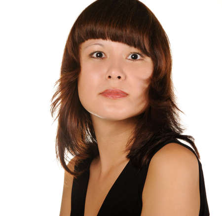 The beautiful girl on a white background. The Asian nationality photo