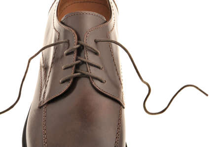 undone: Mans shoes from a brown leather