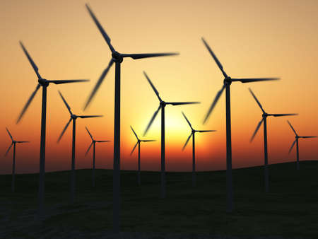 Wind power stations. On a background picturesque sunset photo