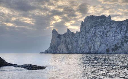 The night sea. The sea photographed at a dawn with long endurance. Crimea, Ukraine photo